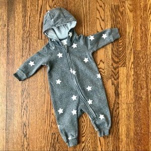 H&M Gray Stars Sweatshirt Hooded One Piece Outfit